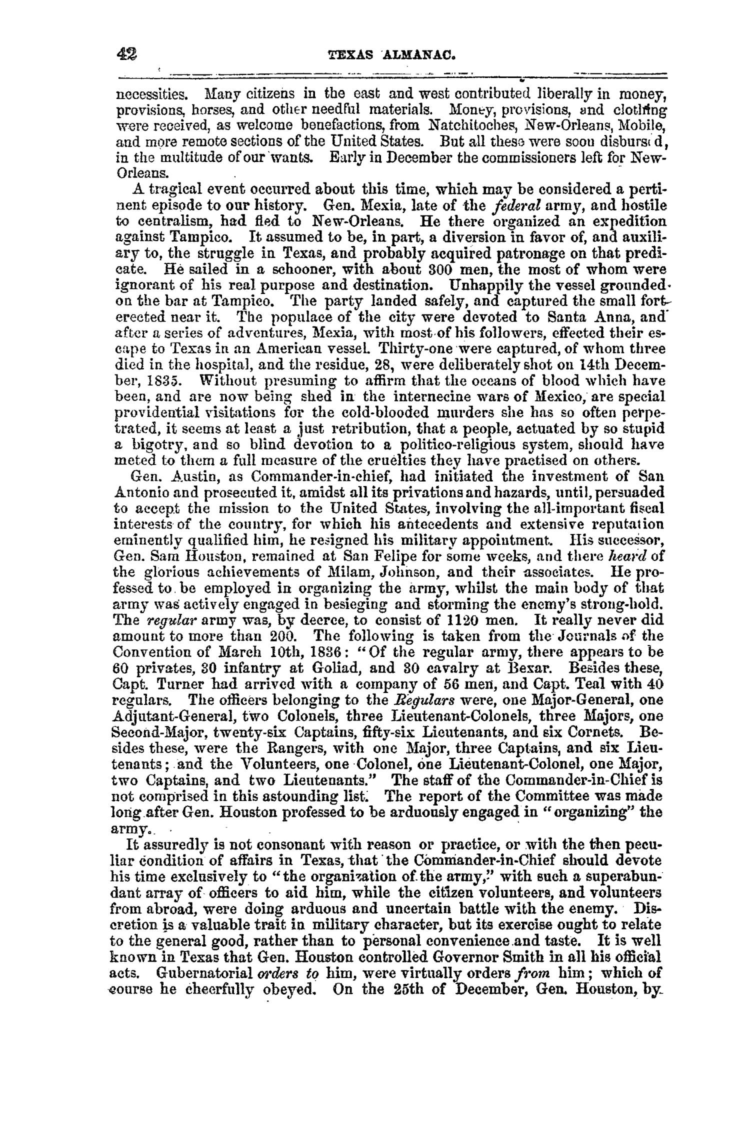The Texas Almanac, for 1860, with Statistics, Historical and Biographical Sketches, &c., Relating to Texas.                                                                                                      42