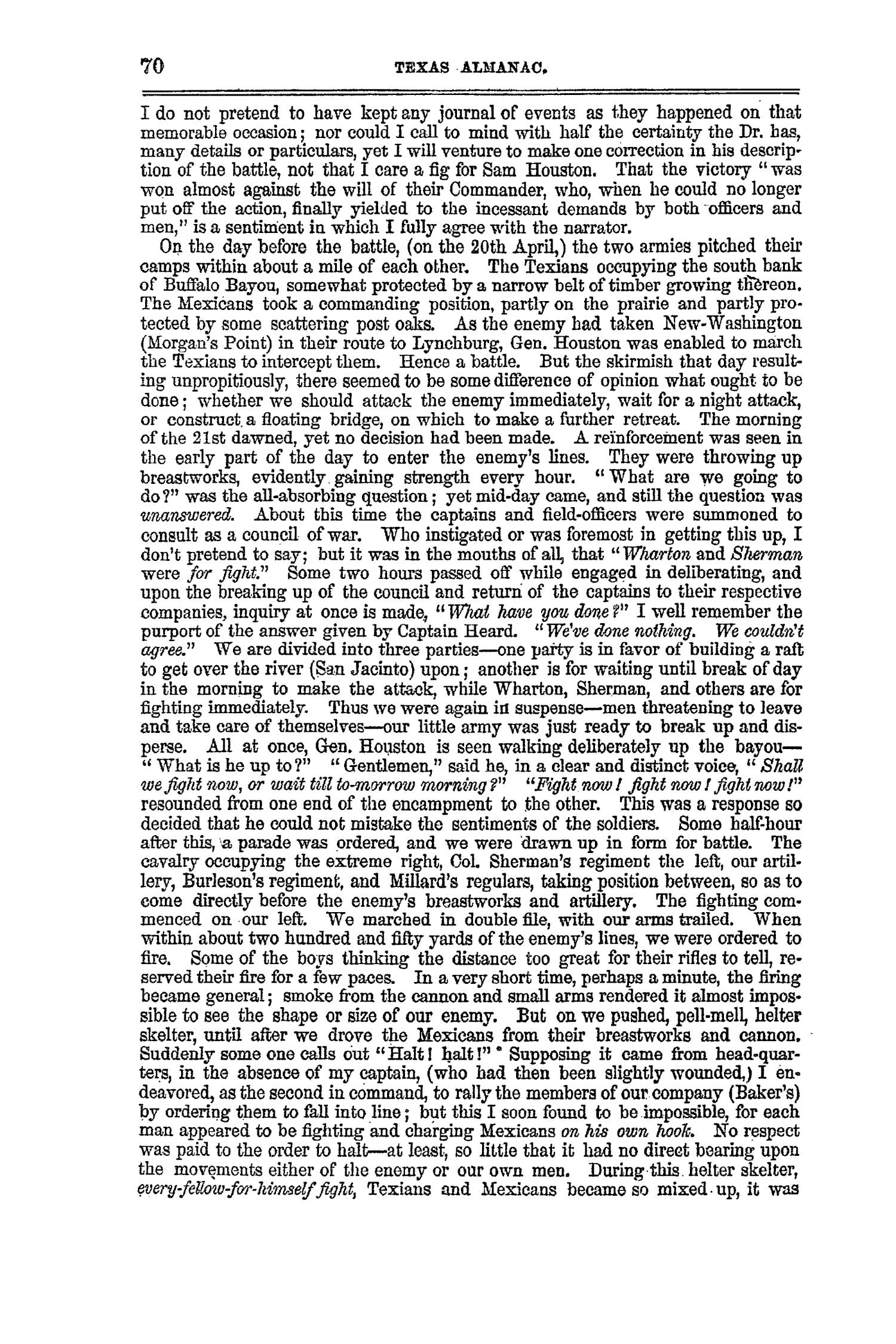 The Texas Almanac, for 1860, with Statistics, Historical and Biographical Sketches, &c., Relating to Texas.                                                                                                      70