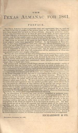 The Texas Almanac for 1861