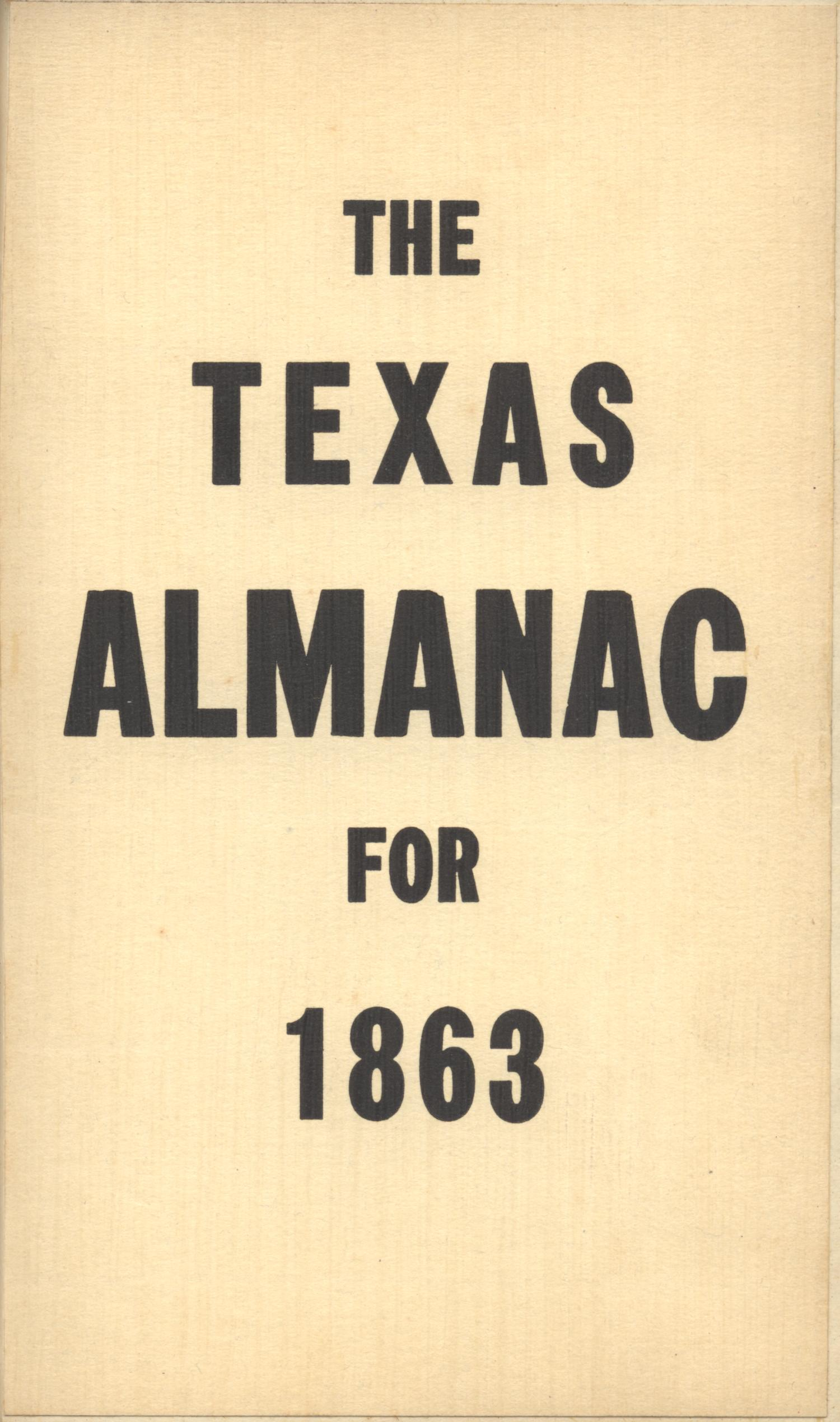 The Texas Almanac for 1863                                                                                                      Front Cover