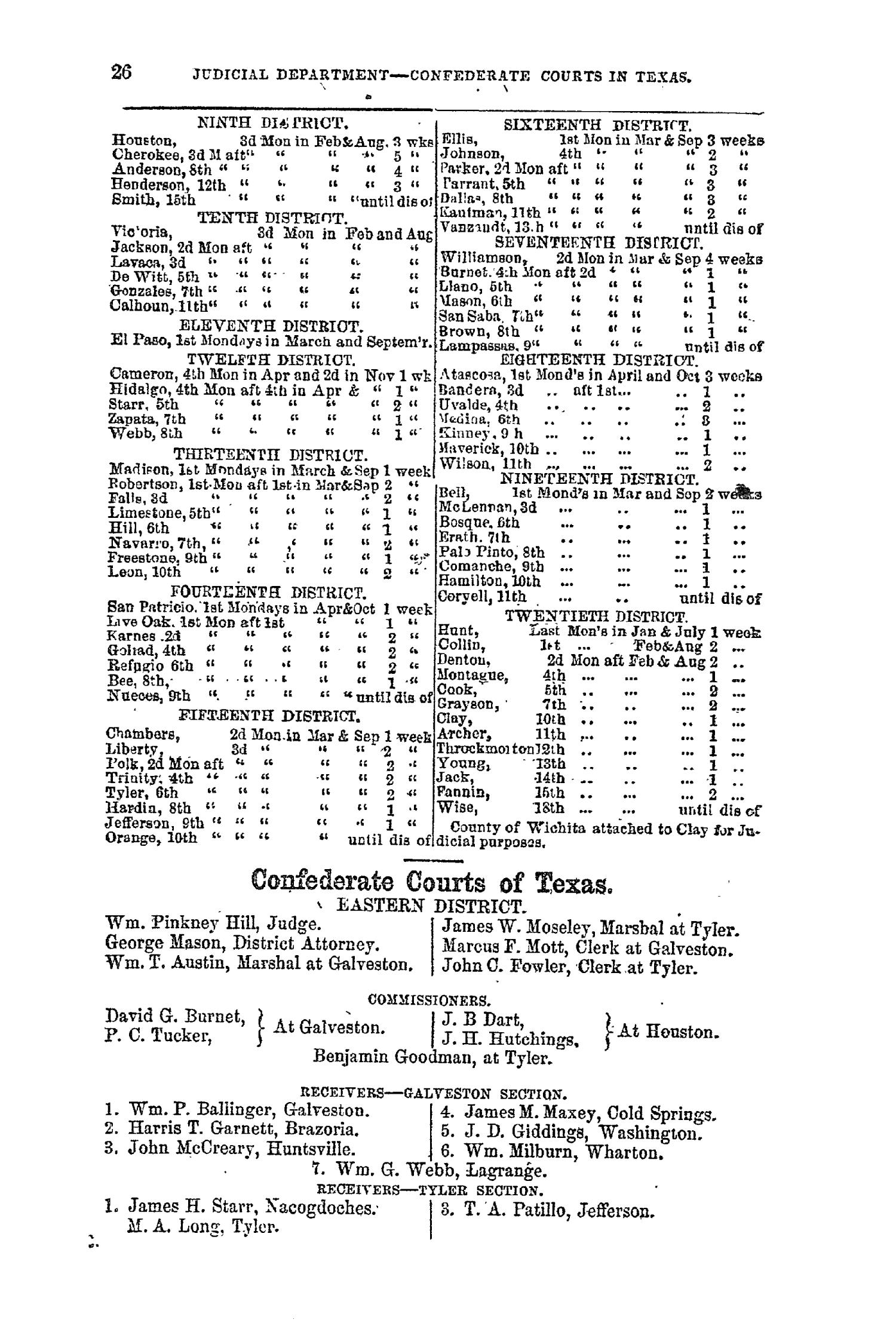 The Texas Almanac for 1864                                                                                                      26
