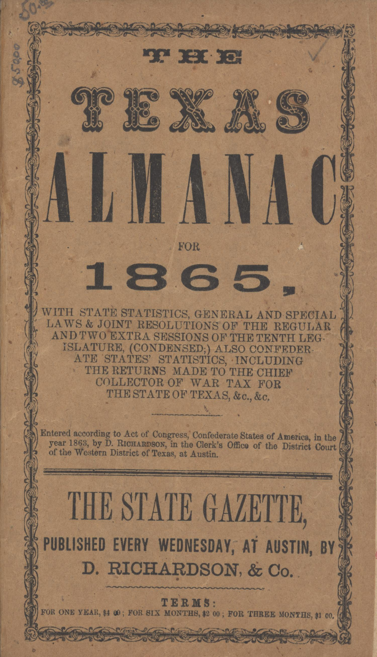 The Texas Almanac for 1865                                                                                                      Front Cover