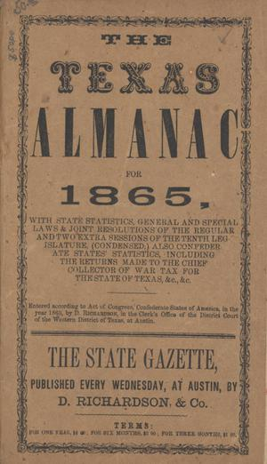 Primary view of object titled 'The Texas Almanac for 1865'.