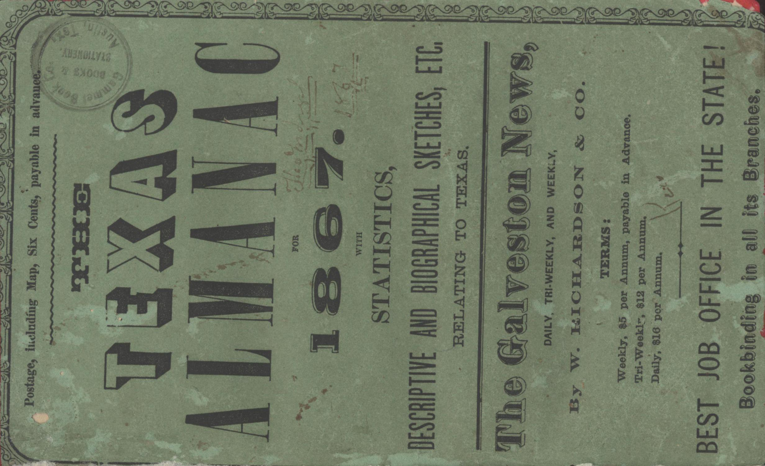 The Texas Almanac for 1867 with Statistics, Descriptive and Biographical Sketches, etc., Relating to Texas.                                                                                                      Front Cover
