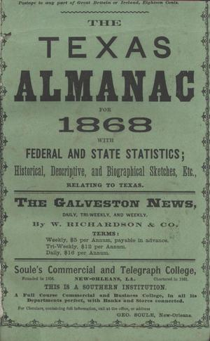 Primary view of object titled 'The Texas Almanac for 1868'.