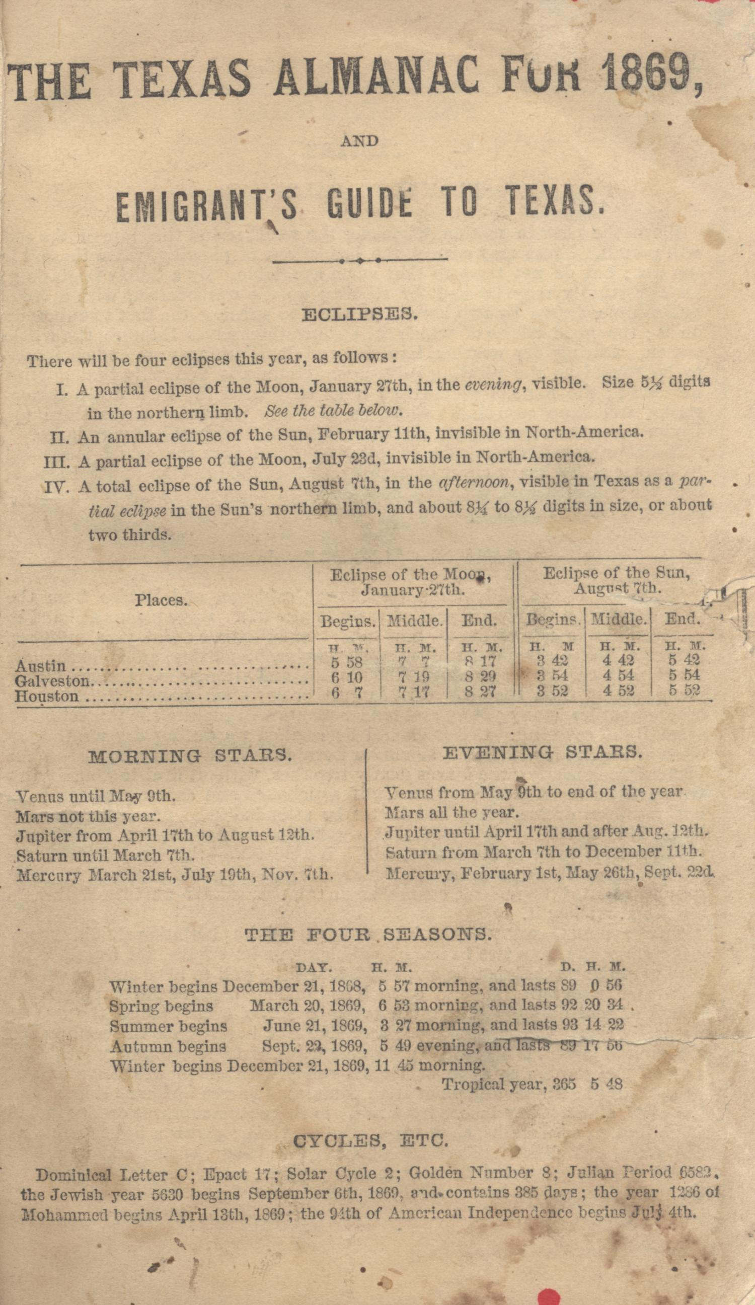 The Texas Almanac for 1869 and Emigrant's Guide to Texas.                                                                                                      Front Cover