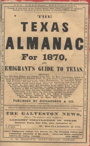 Primary view of object titled 'The Texas Almanac for 1870, and Emigrant's Guide to Texas'.