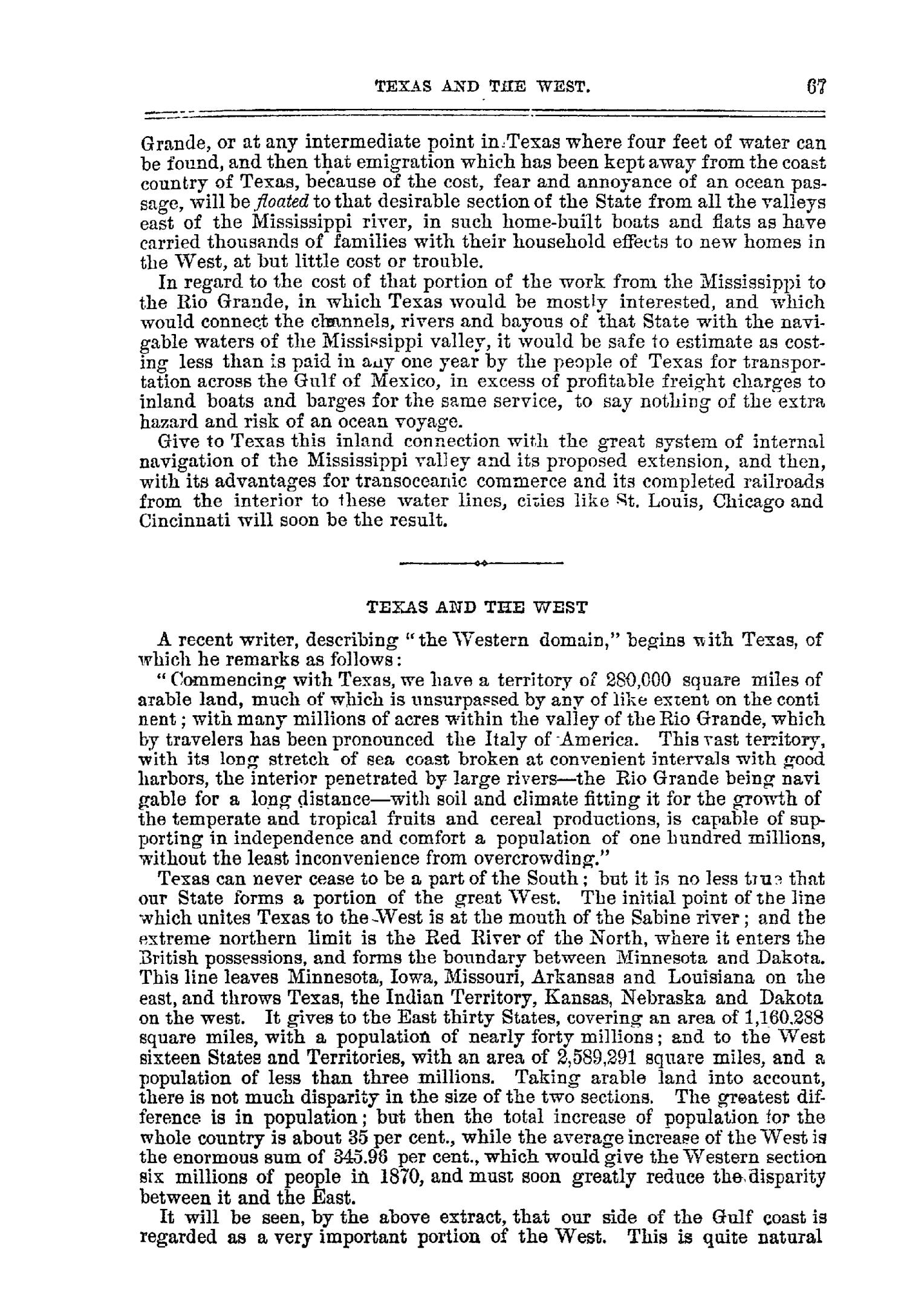 The Texas Almanac for 1872, and Emigrant's Guide to Texas.                                                                                                      67