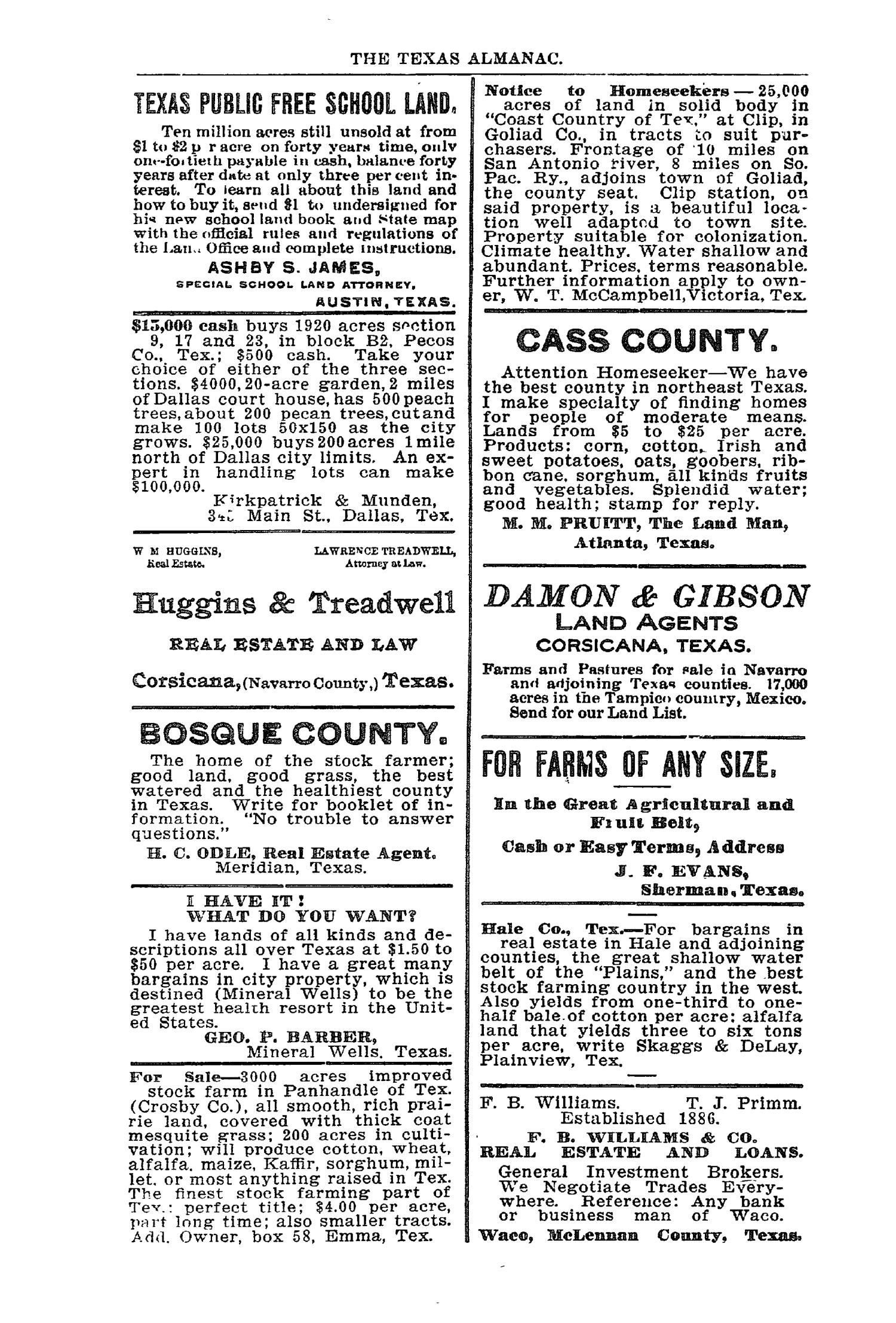 Texas Almanac and State Industrial Guide for 1904                                                                                                      None