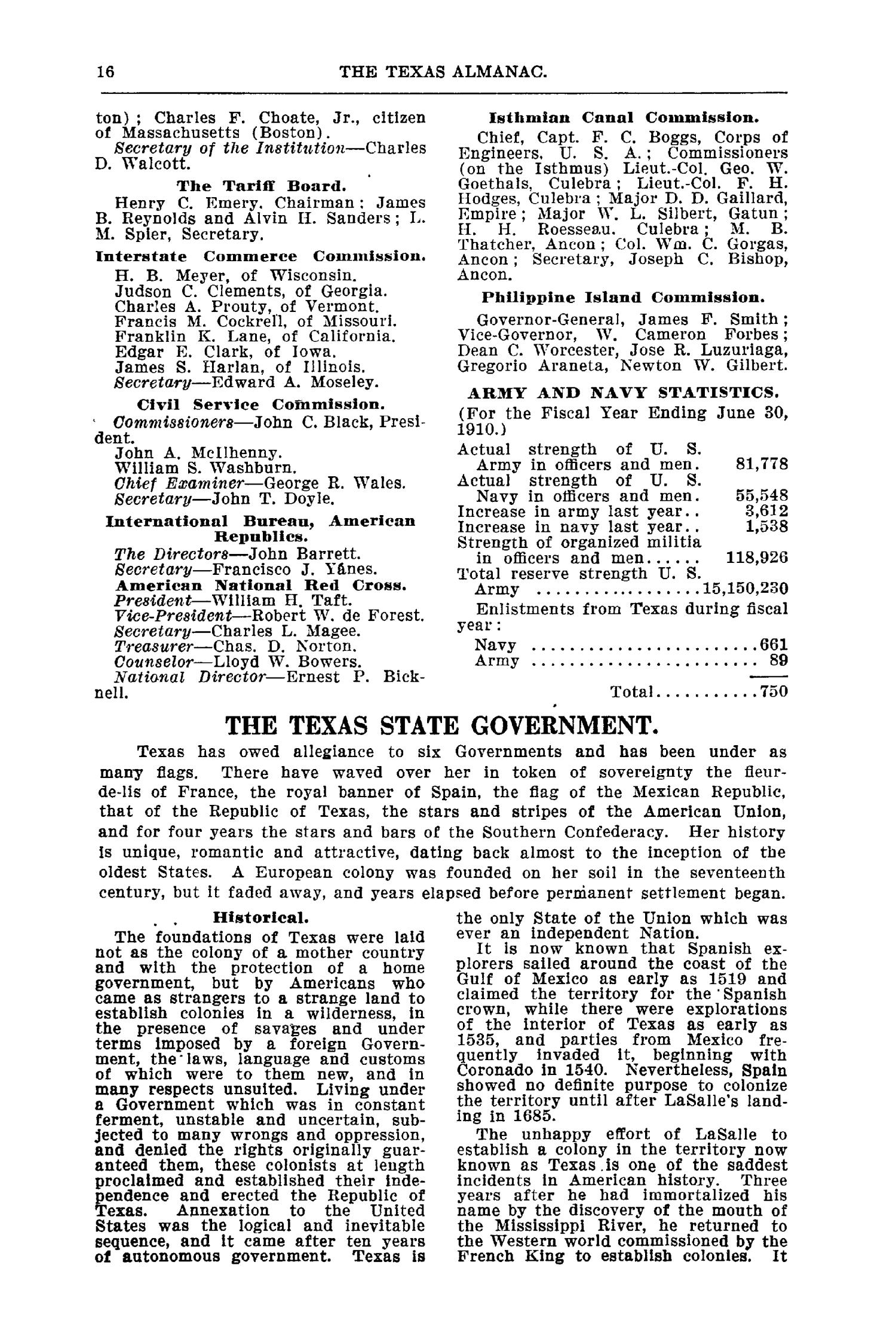 Texas Almanac and State Industrial Guide for 1911 with Map                                                                                                      16
