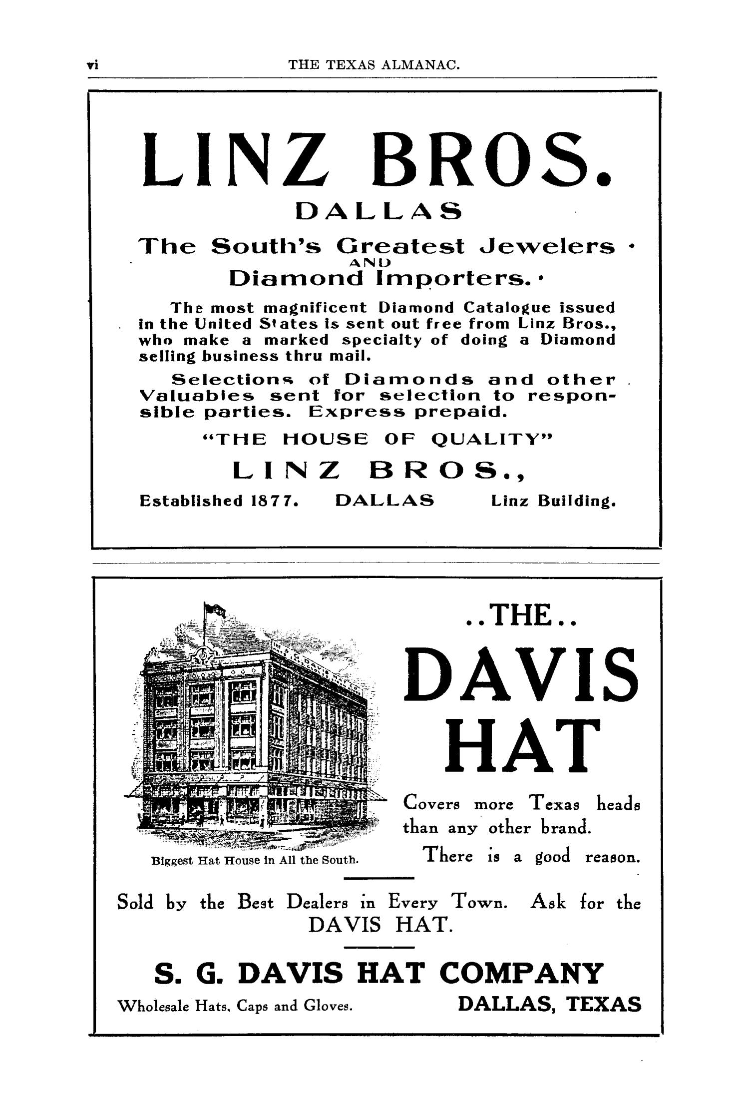 Texas Almanac and State Industrial Guide for 1911 with Map                                                                                                      VI