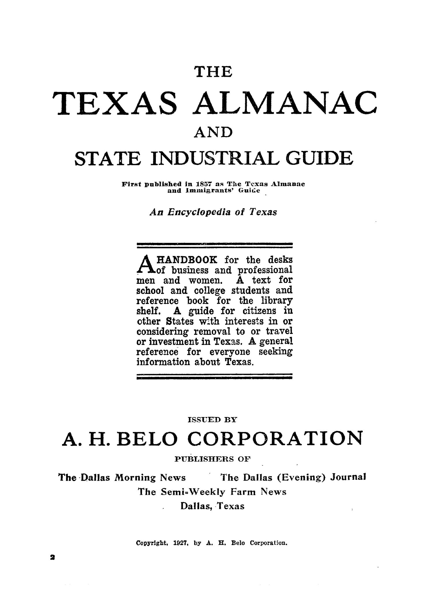 1927 The Texas Almanac and State Industrial Guide                                                                                                      33