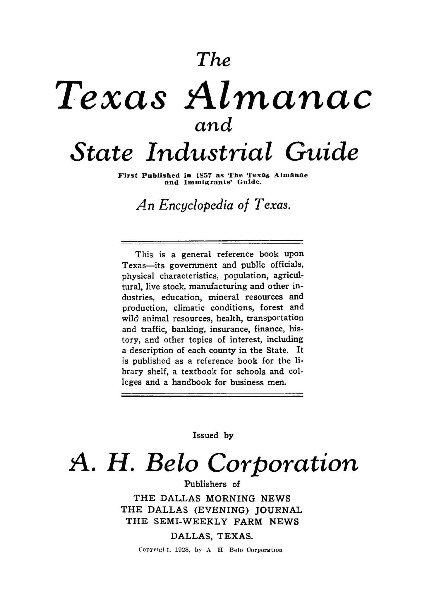The 1928 Texas Almanac and State Industrial Guide                                                                                                      33