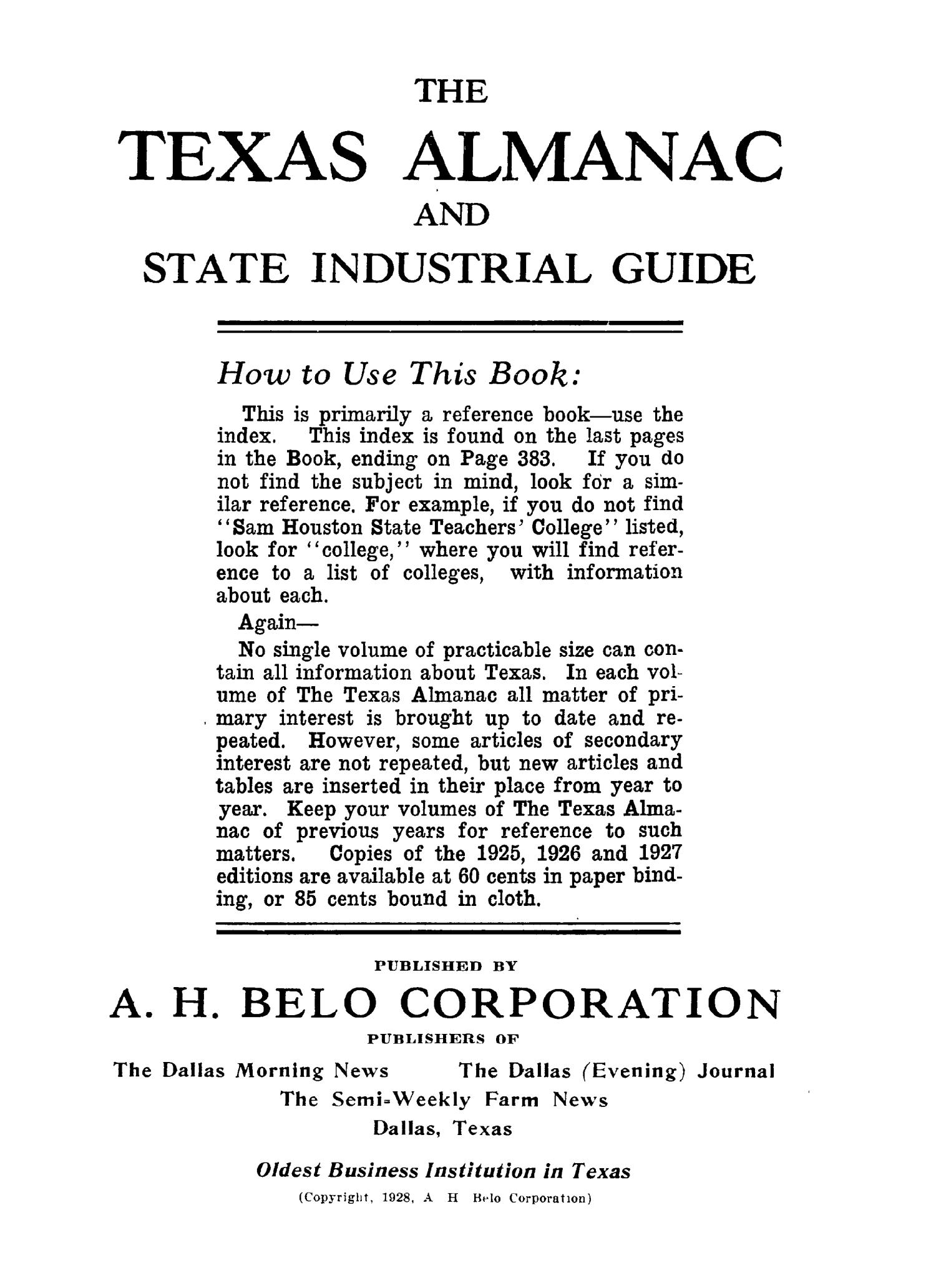 The 1928 Texas Almanac and State Industrial Guide                                                                                                      1
