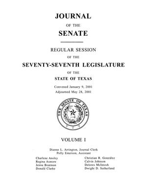 Journal of the Senate, Regular Session of the Seventy-Seventh Legislature of the State of Texas, Volume 1