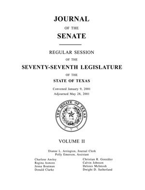 Primary view of object titled 'Journal of the Senate, Regular Session of the Seventy-Seventh Legislature of the State of Texas, Volume 2'.
