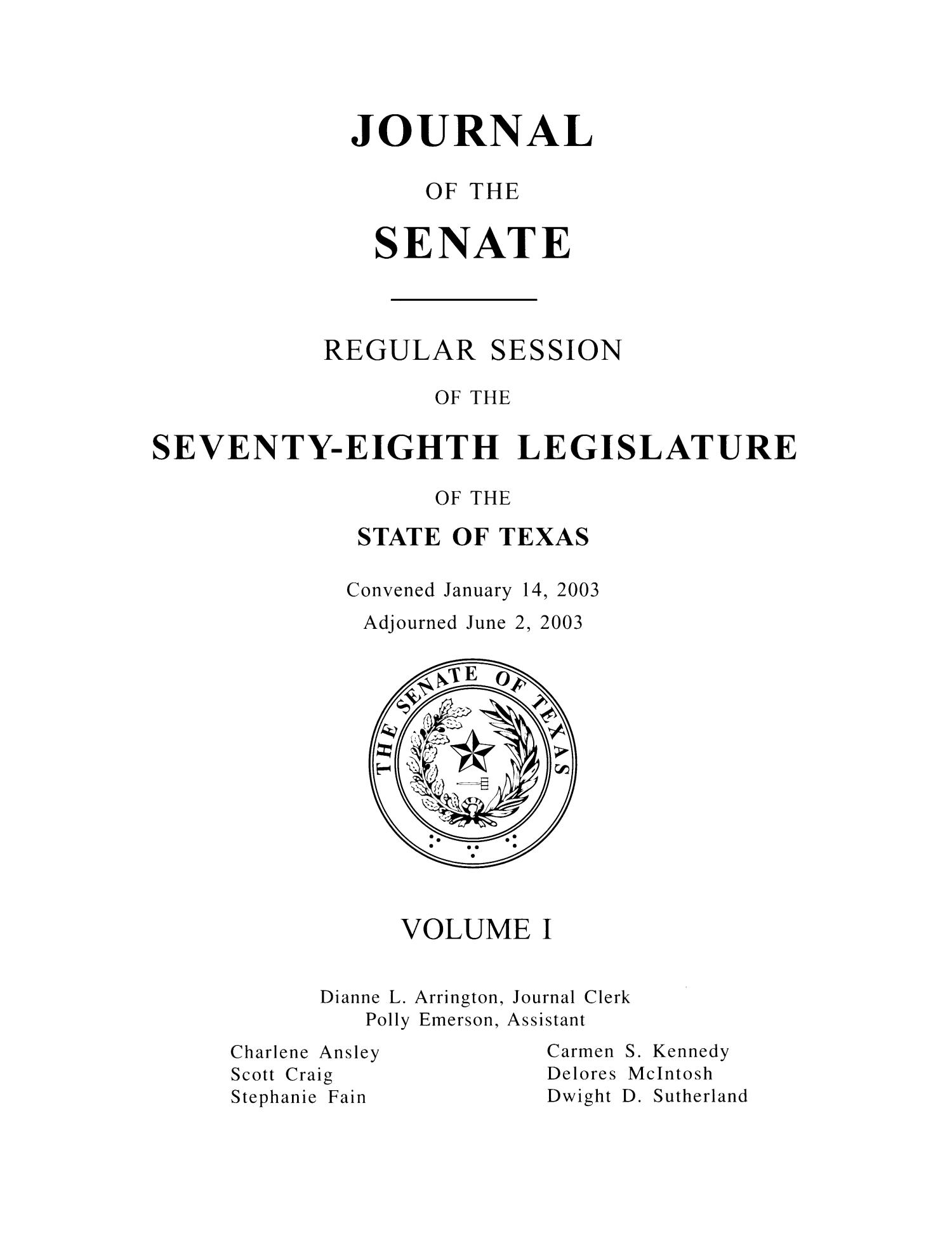 Journal of the Senate, Regular Session of the Seventy-Eighth Legislature of the State of Texas, Volume 1                                                                                                      Title Page