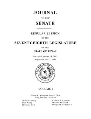 Journal of the Senate, Regular Session of the Seventy-Eighth Legislature of the State of Texas, Volume 1