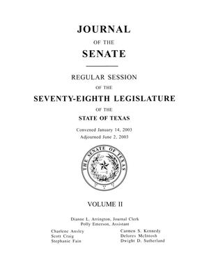 Primary view of object titled 'Journal of the Senate, Regular Session of the Seventy-Eighth Legislature of the State of Texas, Volume 2'.