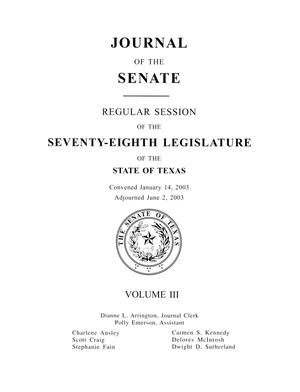 Primary view of object titled 'Journal of the Senate, Regular Session of the Seventy-Eighth Legislature of the State of Texas, Volume 3'.