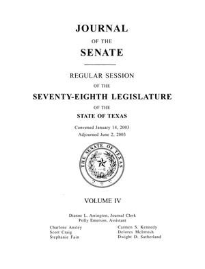 Primary view of object titled 'Journal of the Senate, Regular Session of the Seventy-Eighth Legislature of the State of Texas, Volume 4'.