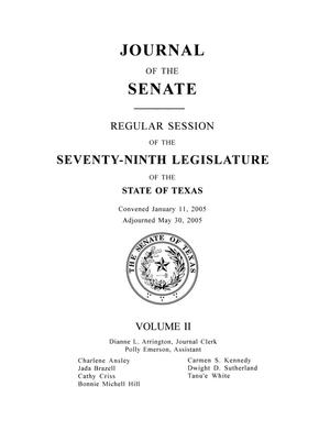 Primary view of object titled 'Journal of the Senate, Regular Session of the Seventy-Ninth Legislature of the State of Texas, Volume 2'.