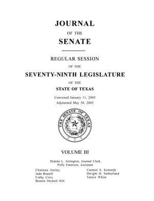 Primary view of object titled 'Journal of the Senate, Regular Session of the Seventy-Ninth Legislature of the State of Texas, Volume 3'.