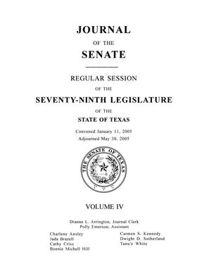 Primary view of object titled 'Journal of the Senate, Regular Session of the Seventy-Ninth Legislature of the State of Texas, Volume 4'.