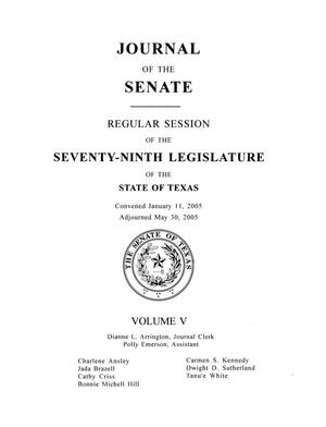 Primary view of object titled 'Journal of the Senate, Regular Session of the Seventy-Ninth Legislature of the State of Texas, Volume 5'.