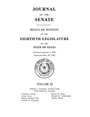 Primary view of object titled 'Journal of the Senate, Regular Session of the Eightieth Legislature of the State of Texas, Volume 3'.