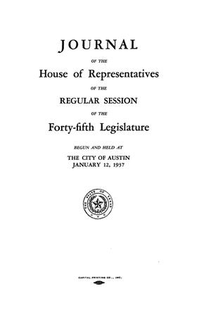 Primary view of object titled 'Journal of the House of Representatives of the Regular Session of the Forty-Fifth Legislature of the State of Texas, Volume 2'.