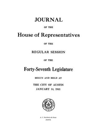 Primary view of object titled 'Journal of the House of Representatives of the Regular Session of the Forty-Seventh Legislature of the State of Texas, Volume 1'.