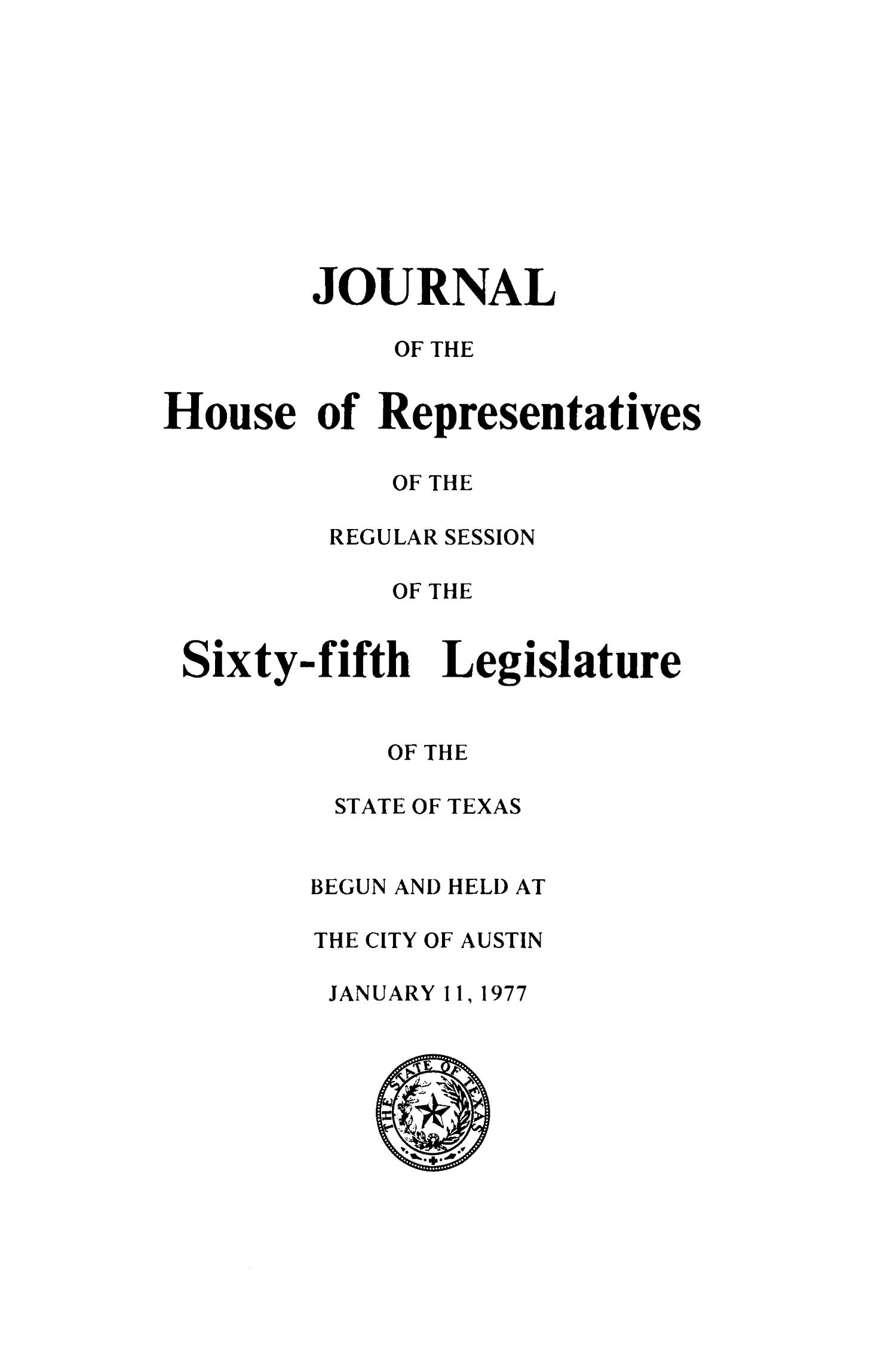 Journal of the House of Representatives of the Sixty-Fifth Legislature of the State of Texas, Volume 3                                                                                                      Title Page