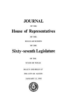 Primary view of object titled 'Journal of the House of Representatives of the Regular Session of the Sixty-Seventh Legislature of the State of Texas, Volume 1'.