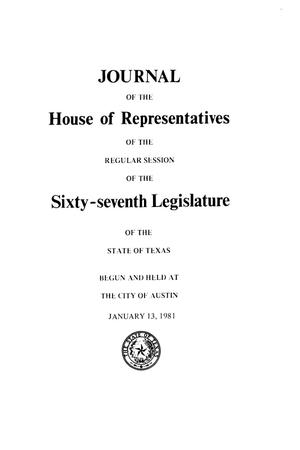 Primary view of object titled 'Journal of the House of Representatives of the Regular Session of the Sixty-Seventh Legislature of the State of Texas, Volume 2'.