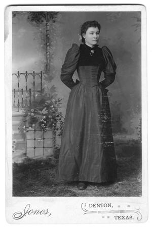 Primary view of object titled '[Unidentified woman posing in dress and bodice]'.