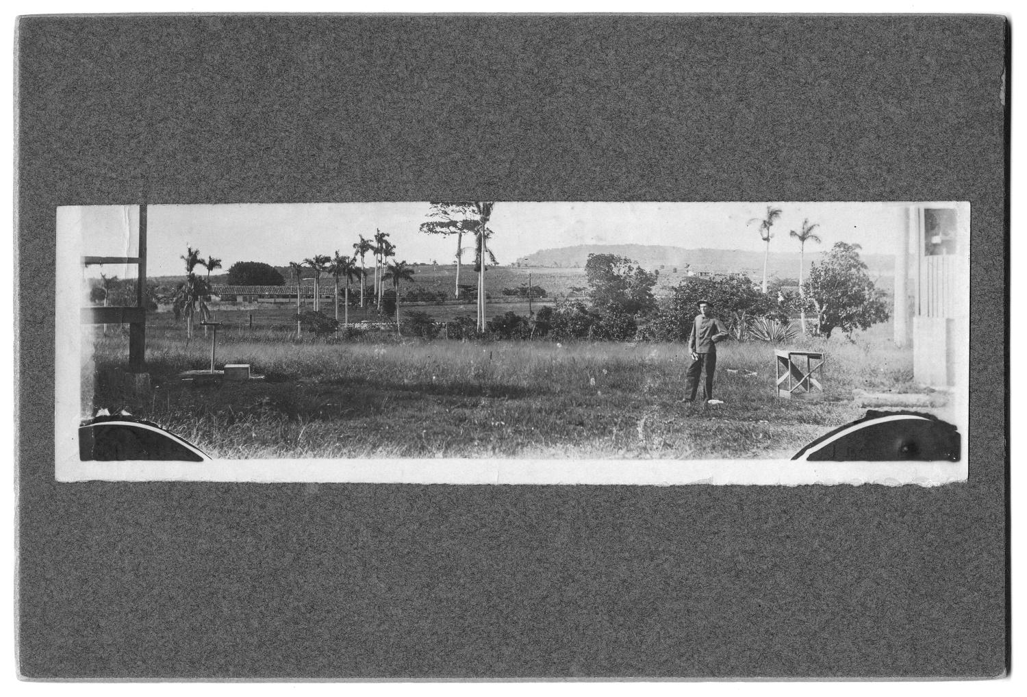 [Unidentified man standing near palm trees and railroad]                                                                                                      [Sequence #]: 1 of 1
