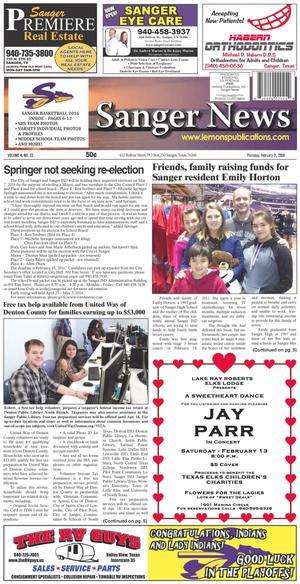 Sanger News (Sanger, Tex.), Vol. 4, No. 22, Ed. 1 Thursday, February 11, 2016