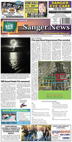Sanger News (Sanger, Tex.), Vol. 7, No. 33, Ed. 1 Thursday, July 11, 2019
