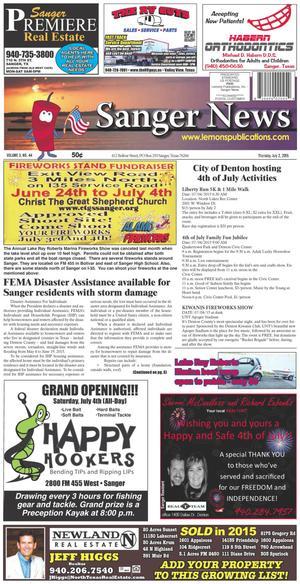 Sanger News (Sanger, Tex.), Vol. 3, No. 44, Ed. 1 Thursday, July 2, 2015
