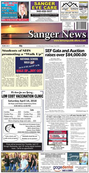 Primary view of Sanger News (Sanger, Tex.), Vol. 6, No. 21, Ed. 1 Thursday, April 12, 2018
