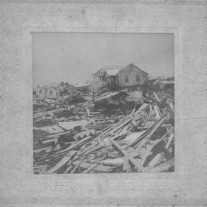 Primary view of object titled '[Aftermath of 1900 Galveston storm, a horse surrounded by debris]'.