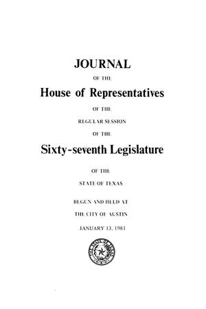 Primary view of object titled 'Journal of the House of Representatives of the Regular Session of the Sixty-Seventh Legislature of the State of Texas, Volume 3'.
