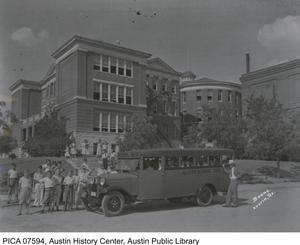 Primary view of [School Bus In Front of Allan Junior High School]