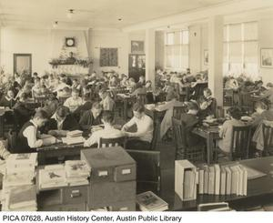 Primary view of Interior of senior high library [at Austin High School]