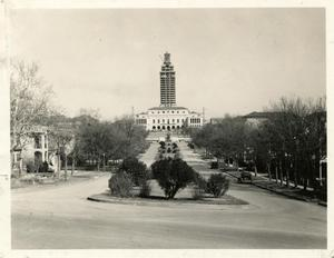 Primary view of object titled 'UT Tower under construction'.