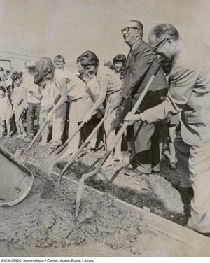 Primary view of object titled '[Laying of Sidewalk near Elementary Schools]'.