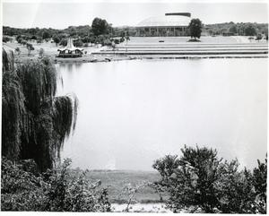 Primary view of object titled '[View of Municipal Auditorium from across the Lake]'.