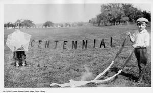 Primary view of object titled '[Boys Holding Centennial Kite]'.