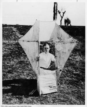 Primary view of [Winfred Gustafson and Winning Box Kite]